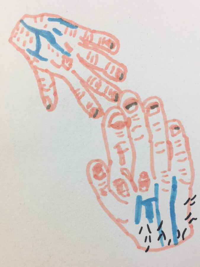 A drawing of hands touching by Sam