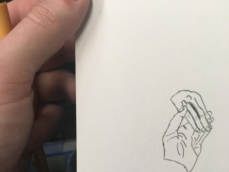 A pencil drawing of hands touching by Sam