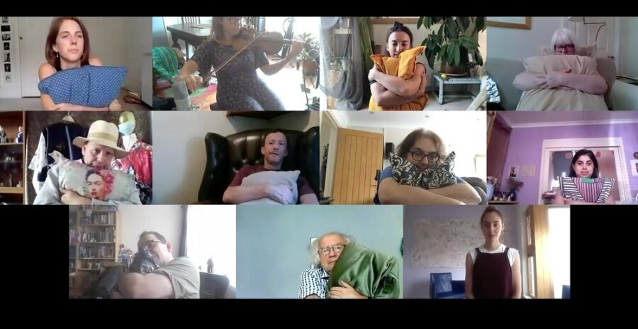 Photos of Mild May Care Home residents participating in a BitterSuite HELD workshop on Zoom.
